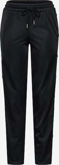 Urban Classics Broek 'Ladies Button Up' in de kleur Zwart / Wit, Productweergave