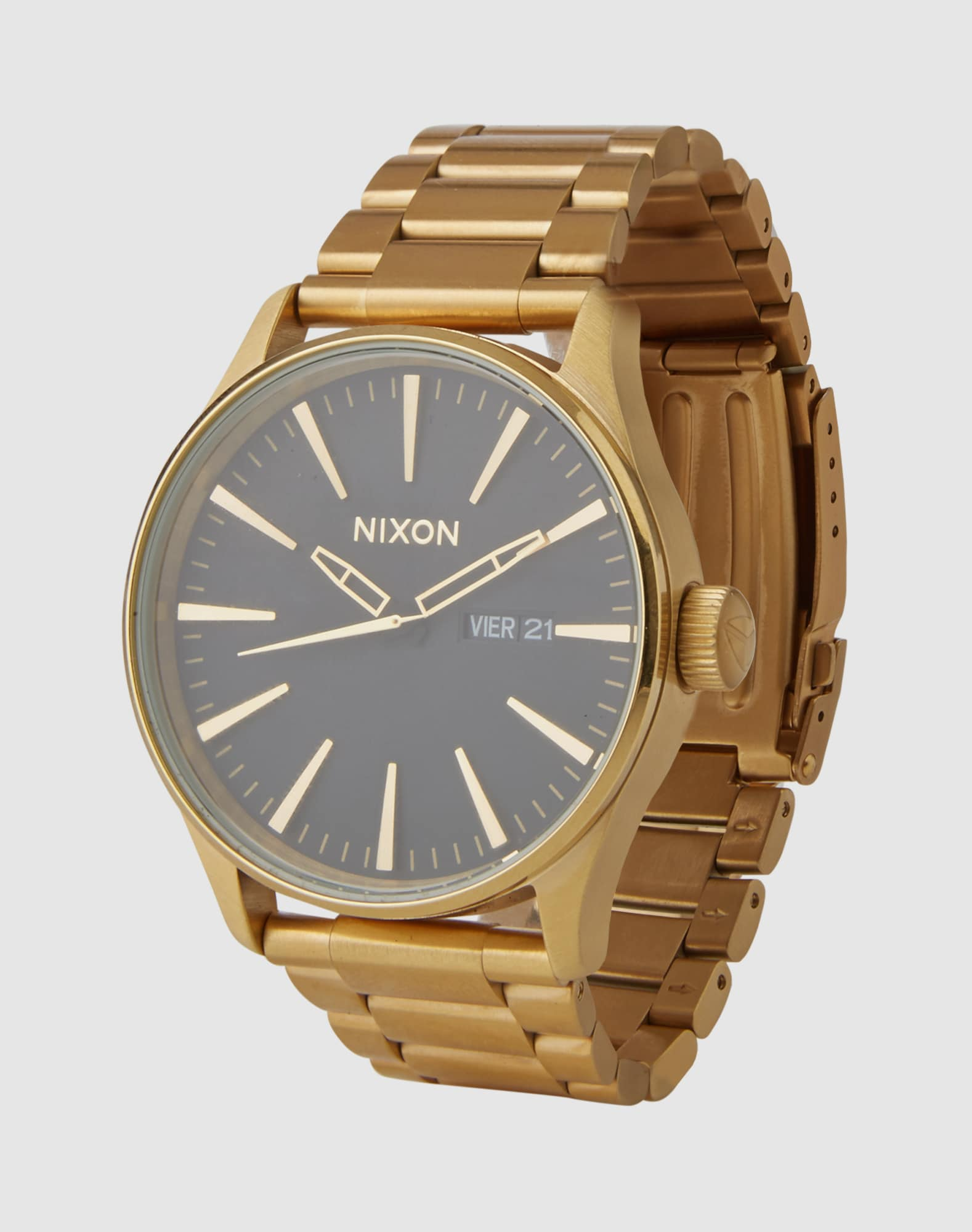 nixon armbanduhr 39 sentry ss 39 ziffernblatt 39mm in gold about you. Black Bedroom Furniture Sets. Home Design Ideas