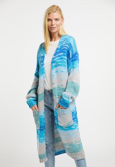 Usha Strickmantel in beige / blau / aqua, Modelansicht