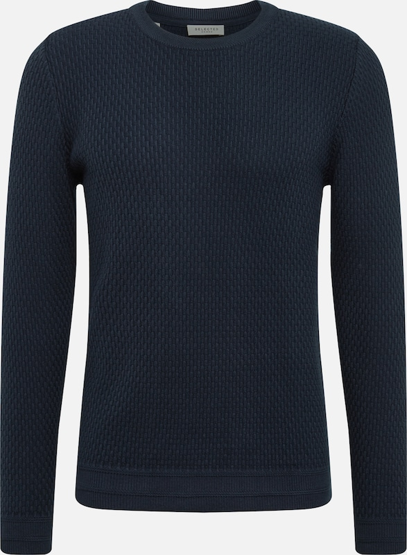 SELECTED HOMME Trui 'SLHOLIVER CREW NECK W NOOS' in de kleur Donkerblauw, Productweergave