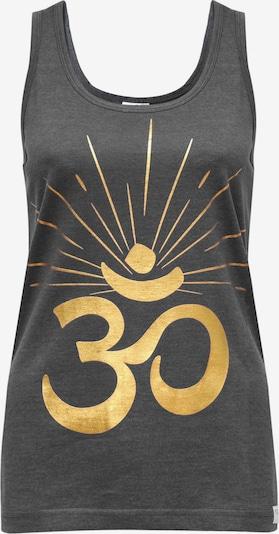 YOGISTAR.COM Yoga-tank-top 'om Sunray' in gold / dunkelgrau, Produktansicht