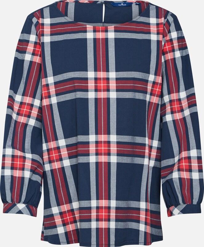 Blouse NavyRood Tom Tailor In Wit JTKlF1c3u5