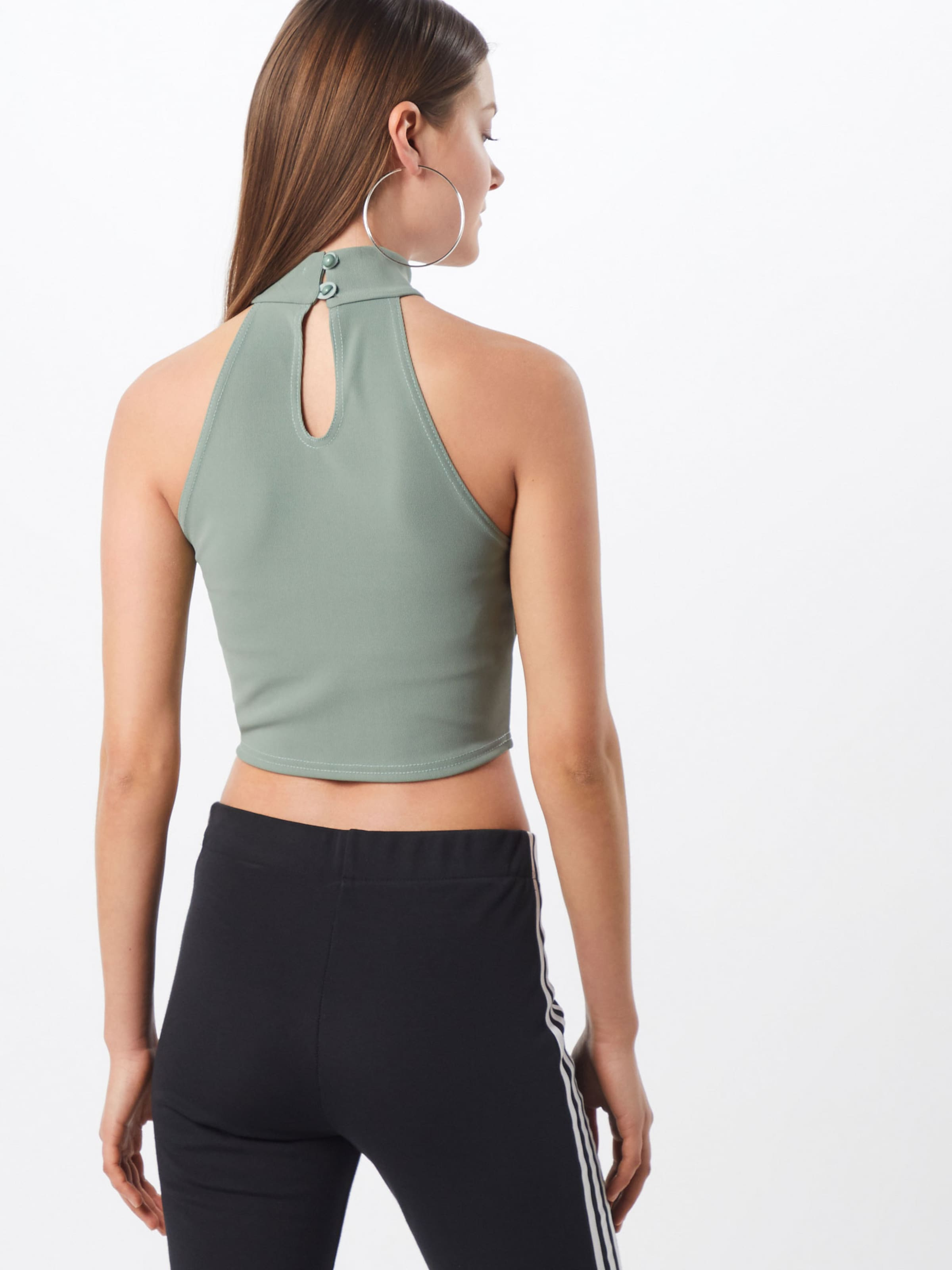 Missguided Green' Sleeveless In 'ribbed Top Grün jL3AR54