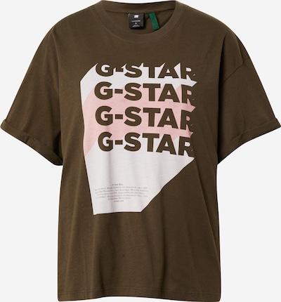 G-Star RAW T-Shirt 'Graphic 1' in khaki / weiß, Produktansicht