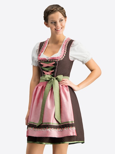 STOCKERPOINT Dirndl 'Patty' en marron / vert clair / rosé, Vue avec modèle