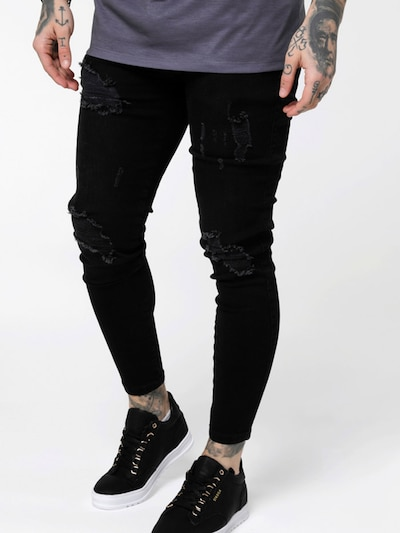 SikSilk Jeans in black denim, Modelansicht