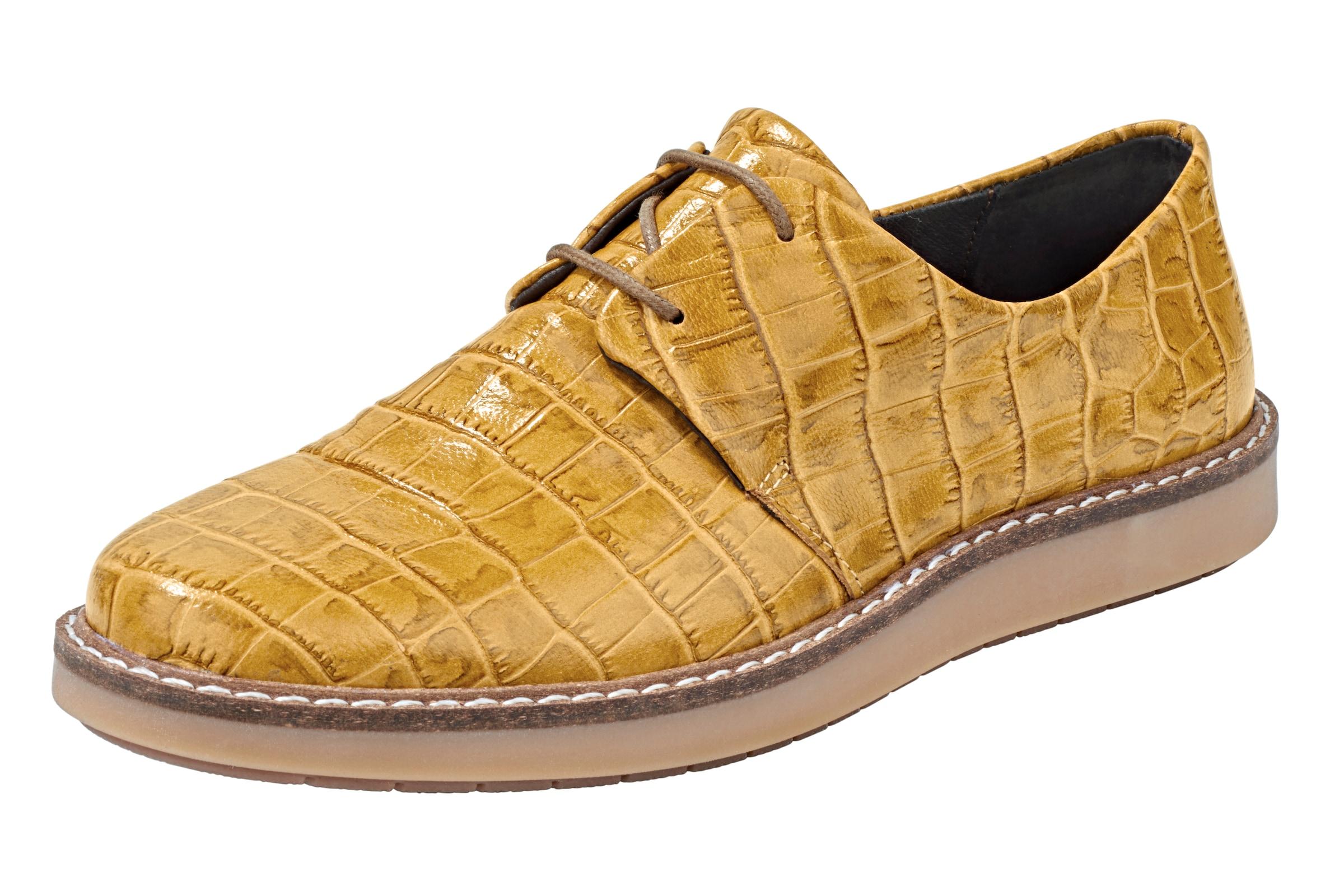 heine Schnürer mit Kroko-Prägung Verschleißfeste billige Schuhe