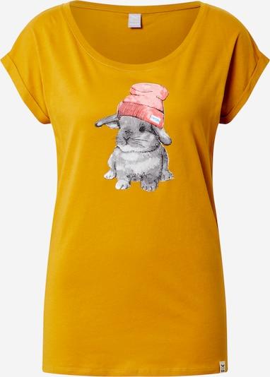Iriedaily T-shirt 'It Hasi' en jaune d'or / gris chiné / rose clair: Vue de face