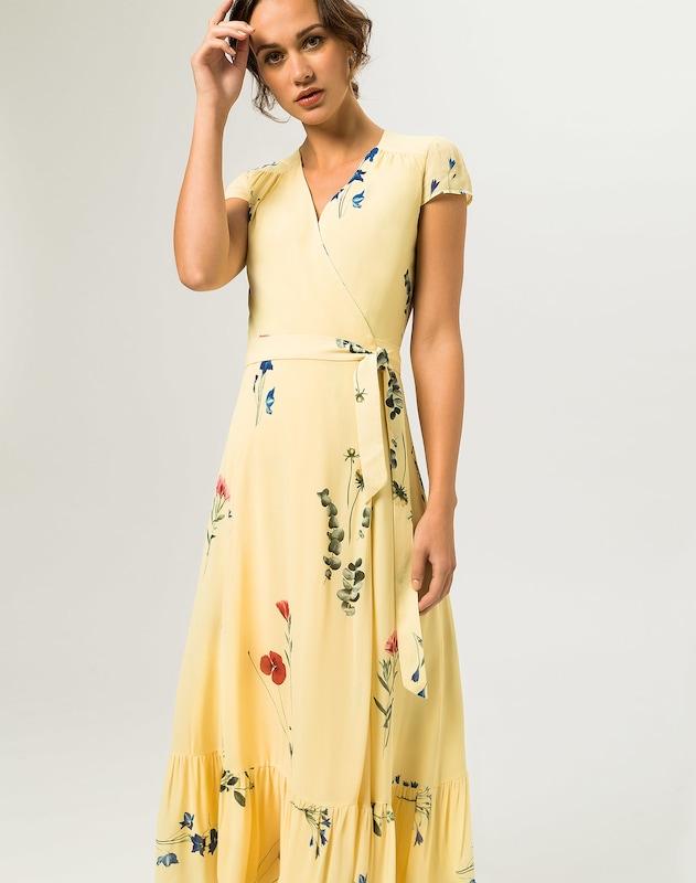 IVY & OAK Kleider Wrap Dress Cap Sleeve Volant Gelb
