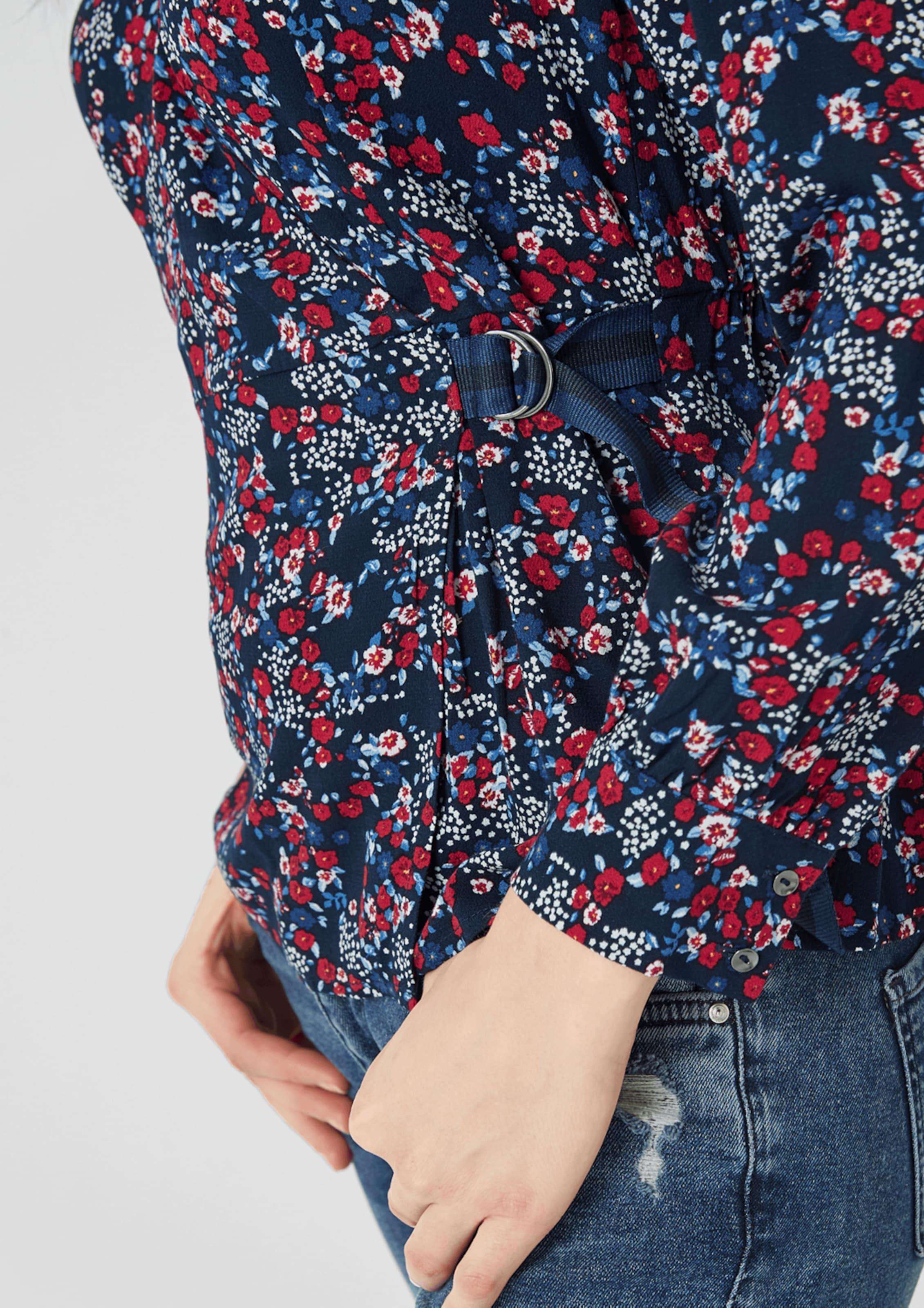 Bluse S oliver Red Kobaltblau 'crêpebluse' Label In 35AqjRL4
