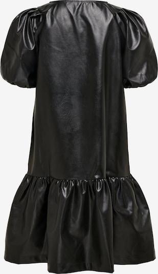 ONLY Kunstleder Puffärmel Kleid in schwarz: Frontalansicht