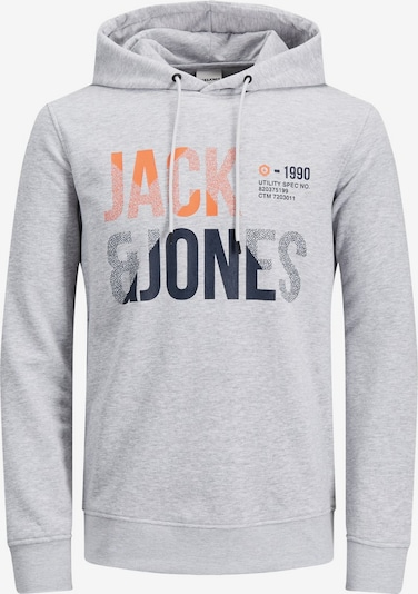 JACK & JONES Logoprint Hoodie in grau, Produktansicht