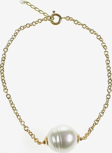 Perlas Orquidea Perlenarmband 'Daphne' Golden in gold / weiß, Produktansicht