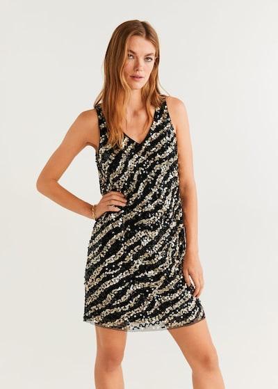 MANGO Kleid 'Zoey' in gold / schwarz, Modelansicht