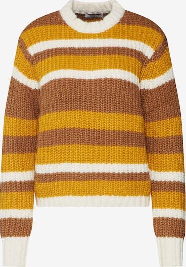 PIECES Pullover 'HUE' in braun / gelb / weiß, Produktansicht