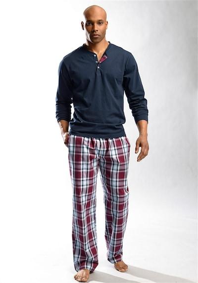 HIS JEANS Pyjama lang in navy / rot / weiß, Modelansicht
