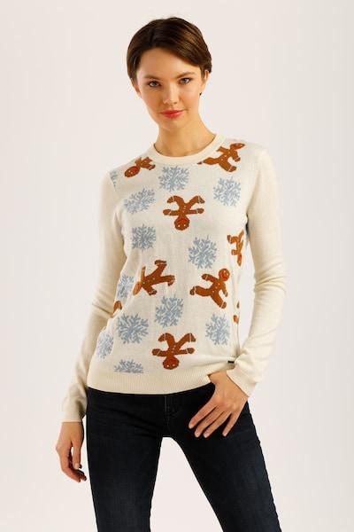 Finn Flare Pullover in beige / hellblau / braun, Modelansicht