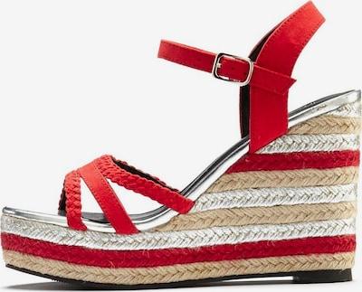 LASCANA Sandalette in hellbeige / rot / silber, Produktansicht