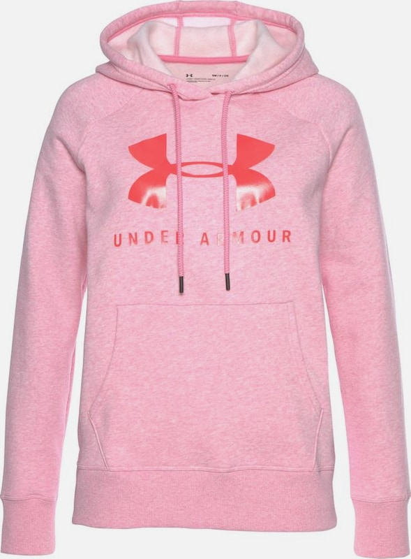 UNDER ARMOUR Sweatshirt 'Rival' in rosa / pinkmeliert / rot: Frontalansicht