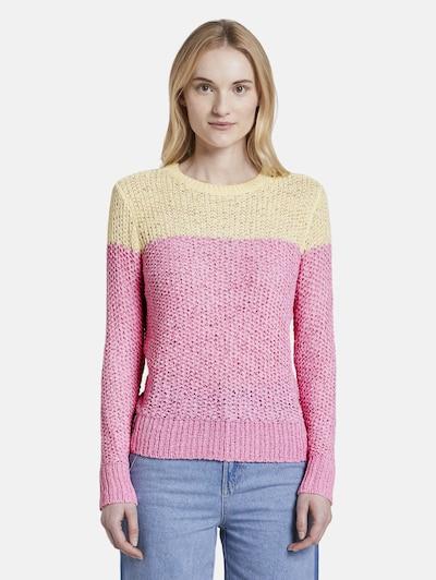 TOM TAILOR DENIM Pullover in gelb / pink, Modelansicht