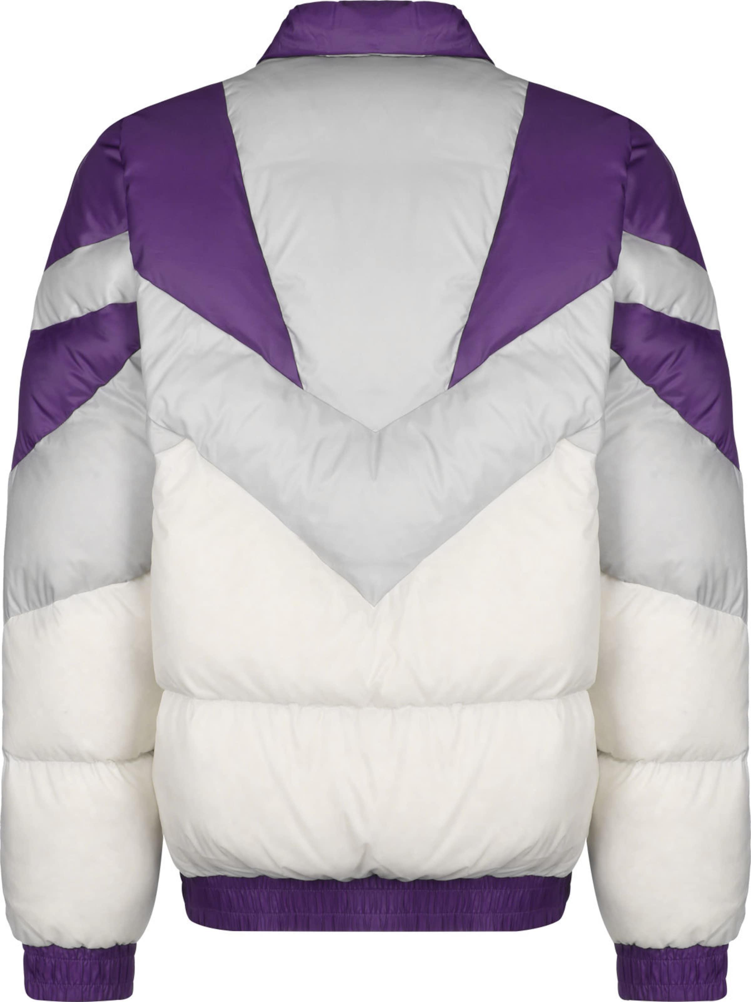 ASICS SportStyle Daunenjacke ' Sportswear ' in grau / dunkellila / weiß Leicht gefüttert KJ13R009031
