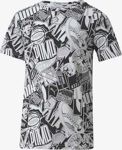 PUMA T-Shirt 'Alpha' in grau / schwarz / weiß: Frontalansicht