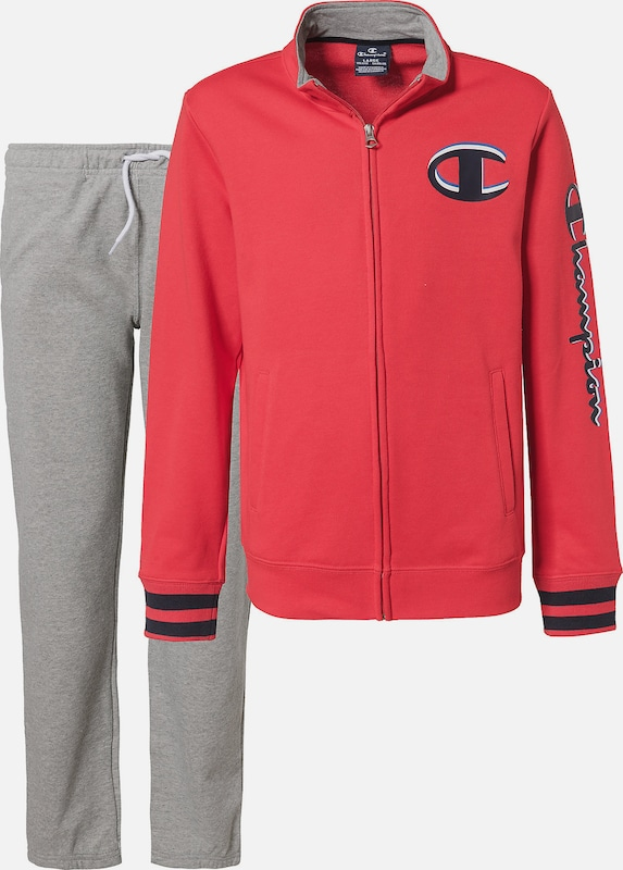 Champion Authentic Athletic Apparel Jogginganzug in graumeliert / rot, Produktansicht