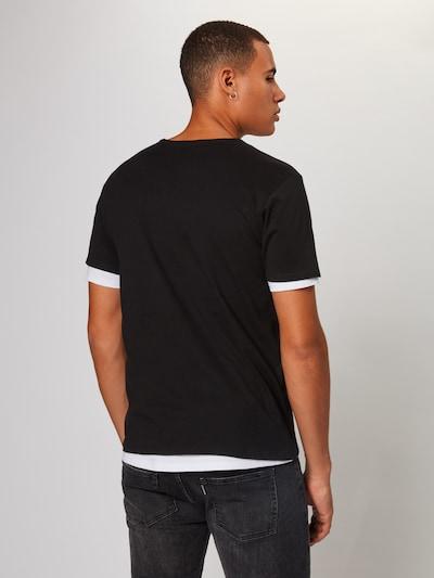 Urban Classics T-Shirt 'Full Double Layered Tee' en noir / blanc: Vue de dos