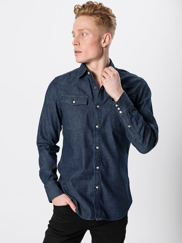 G Star RAW Overhemd '3301 slim shirt ls' in Blauw denim