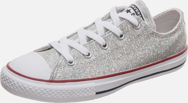 CONVERSE Sneaker 'Chuck Taylor All Star Sparkle OX' in silber / weiß: Frontalansicht