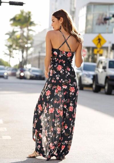 LASCANA Maxikleid in rosa / schwarz, Modelansicht