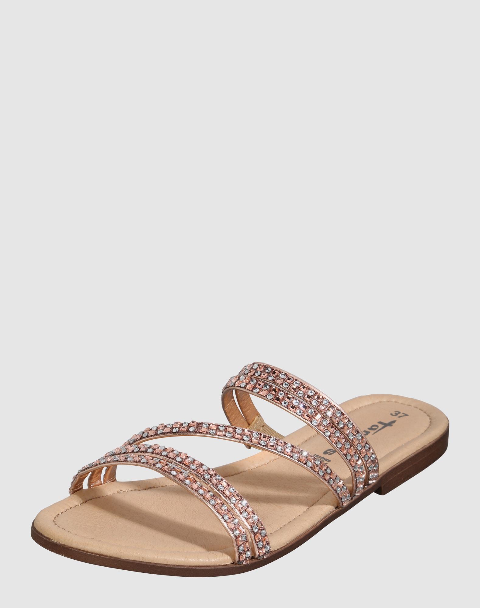 tamaris sandale mit glitzersteinen in gold about you. Black Bedroom Furniture Sets. Home Design Ideas