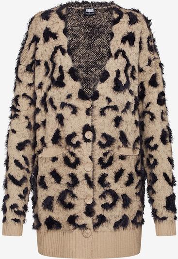 Urban Classics Pletena jopa 'Ladies Leo Cardigan' | bež / črna barva: Frontalni pogled