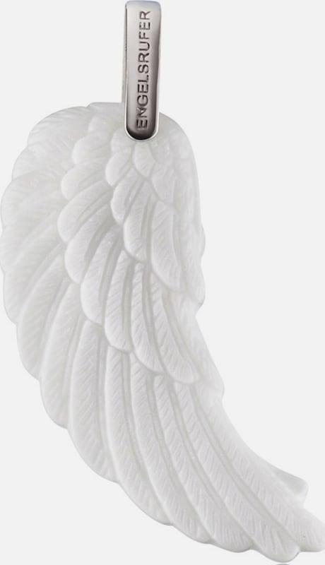 Engelsrufer Halsschmuck: Anhänger ohne Kette aus weißer Keramik 'Flügel ERW-L2-KW'