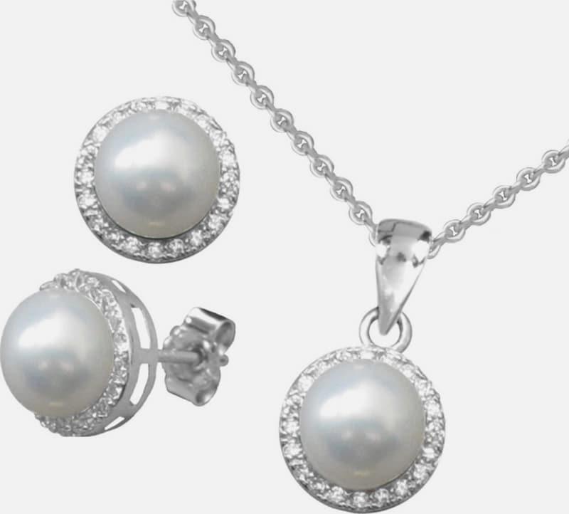 FIRETTI Ohrstecker und Halskette mit Perle und Zirkonia (4tlg.)
