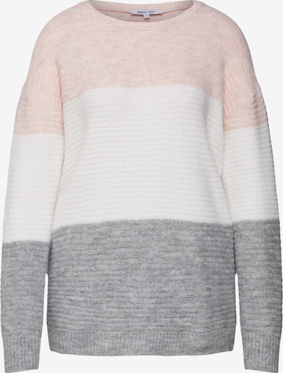 ABOUT YOU Pull-over 'Larissa' en gris / rose / blanc, Vue avec produit