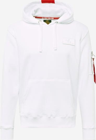 ALPHA INDUSTRIES Sweatshirt 'Red Stripe' in de kleur Rood / Wit: Vooraanzicht