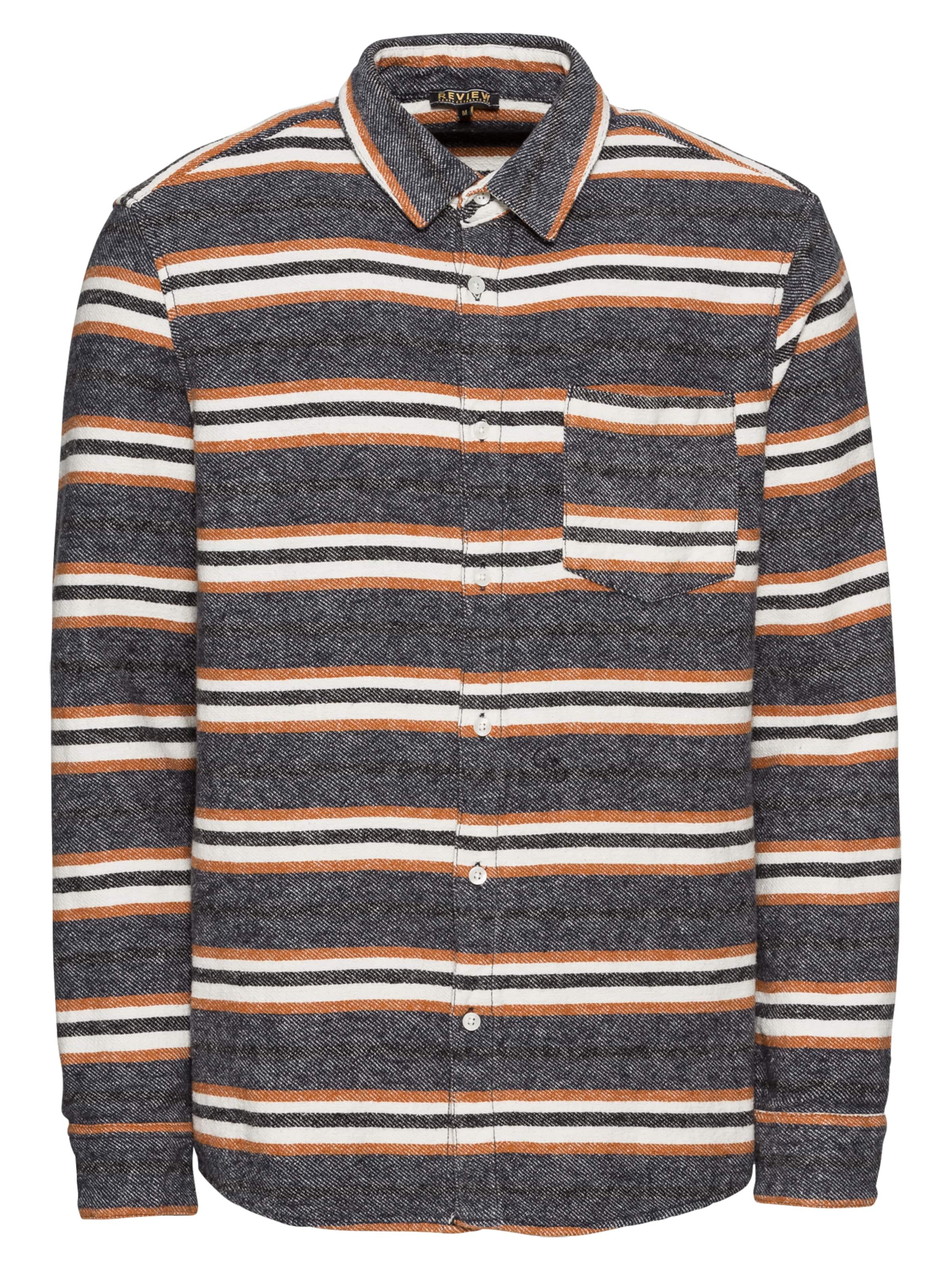 En Noir 'stripe Chemise Review Shirt' GrisOrange stdrChQx