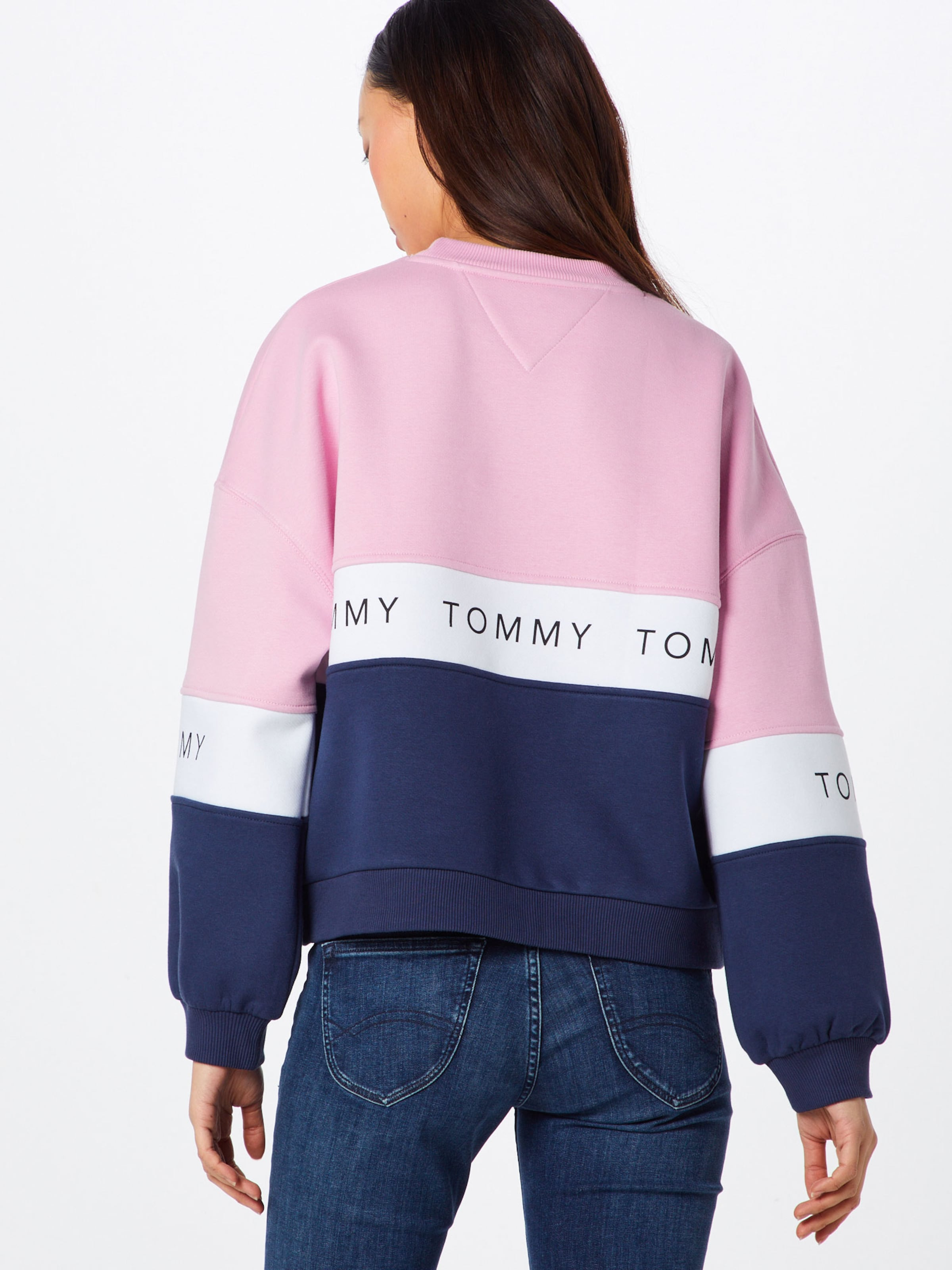 Blanc 'tjw Tommy shirt Colorblock' En Bleu Jeans Sweat MarineRose PXiZuOwkT