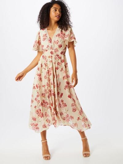 Fashion Union Kleid 'Audrey' in beige / grün / rot, Modelansicht