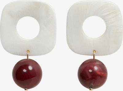 MANGO Boucles d'oreilles 'IOWA' en marron châtaigne / blanc perle, Vue avec produit