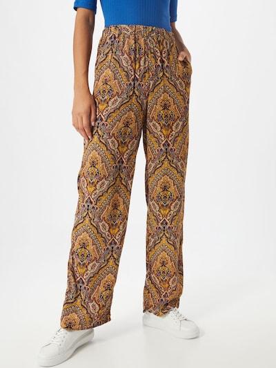 ONLY Harémové kalhoty 'ONLVIDE WIDE PANT WVN' - hnědá / zlatě žlutá / tmavě oranžová: Pohled zepředu