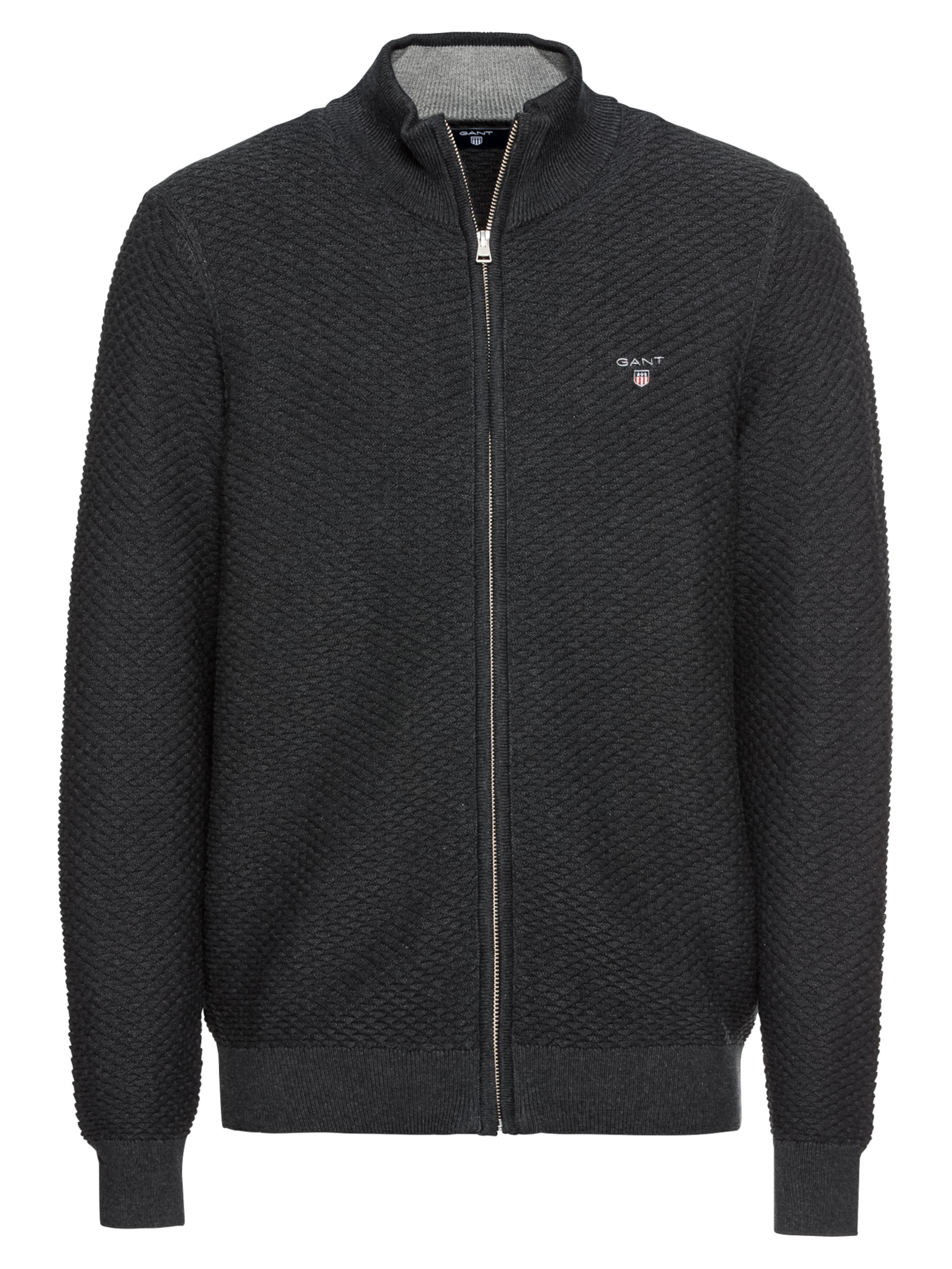 Anthracite Vestes 'o1 Fullzip' En Gant Maille triangle Texture Ygyf76b
