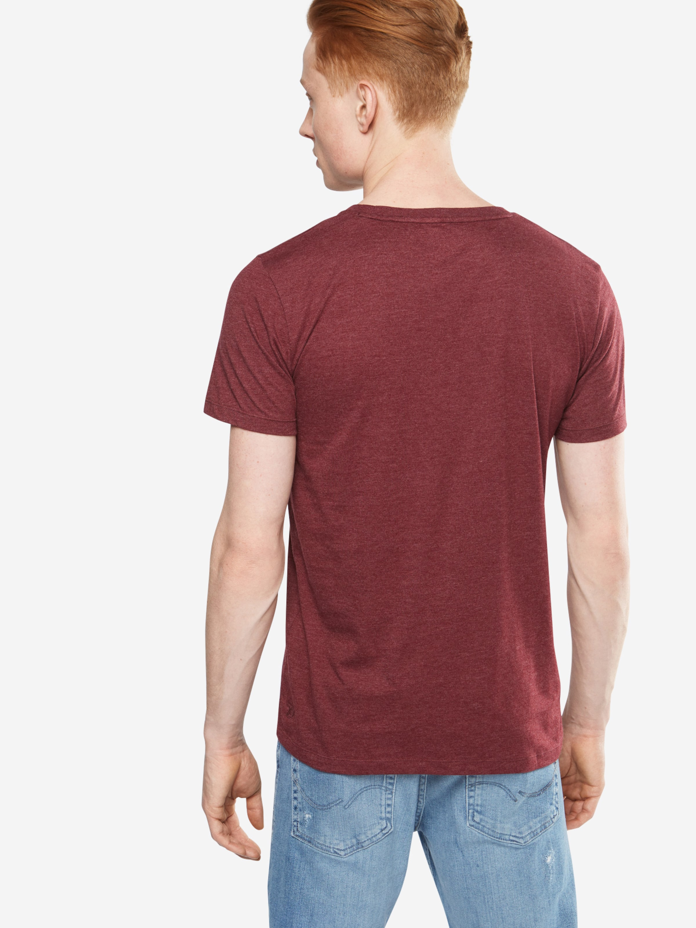 TOM TAILOR DENIM T-Shirt 'NOS melange tee with print' Freies Verschiffen Preiswerter Preis Einkaufen Outlet Online 3ZtOttpuL