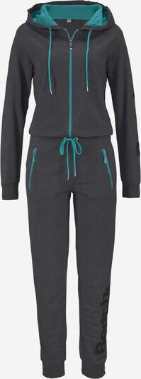 BENCH Relax-Jumpsuit mit kontrastfarbenem Inlet in türkis / anthrazit, Produktansicht