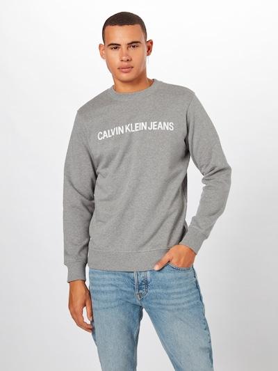 Bluză de molton Calvin Klein Jeans pe gri / alb: Privire frontală