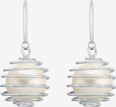 ELLI Ohrringe 'Kugel' in silber / weiß, Produktansicht