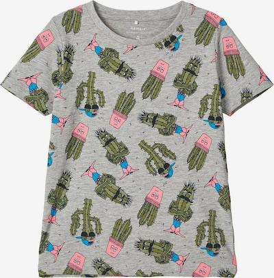 NAME IT T-Shirt in blau / graumeliert / dunkelgrün / rosa: Frontalansicht
