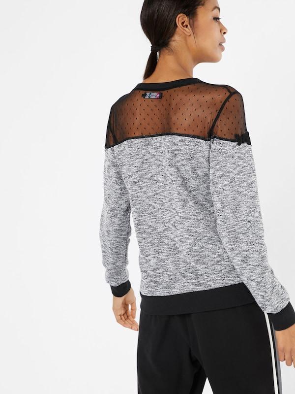 even&odd Oberteil mit Mesheinsatz 'Mesh Crochet Sweatshirt'