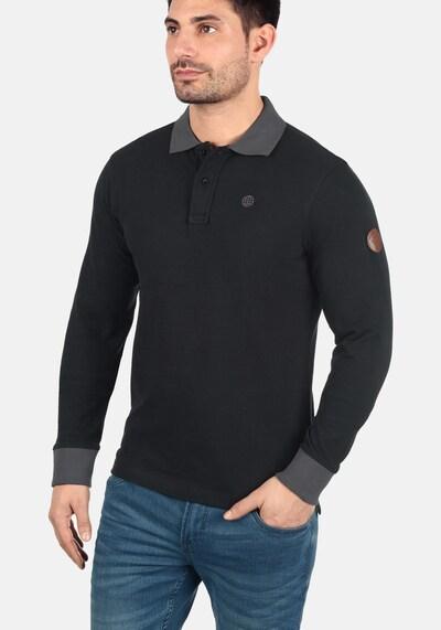 BLEND Langarm-Poloshirt 'Ralle' in grau / schwarz: Frontalansicht
